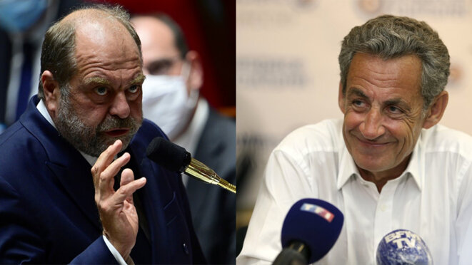 Defence lawyer turned minister of justice Éric Dupond-Moretti and ex-president Nicolas Sarkozy. © AFP