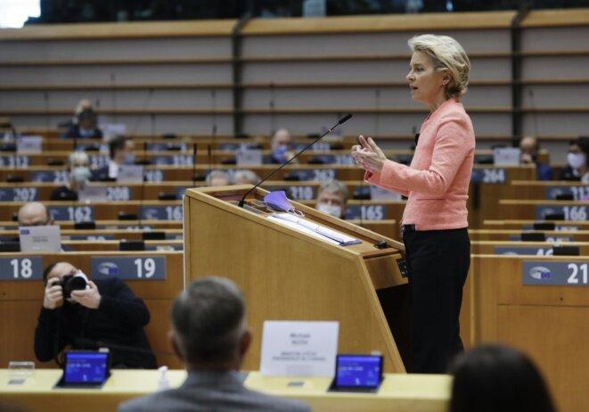 Ursula von der Leyen, le 16 septembre 2020. © AFP / Olivier Hoslet.