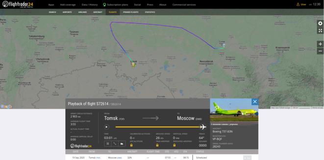 Capture Flight Radar 24 du vol S7-2614 Tomsk-Moscou du 20/08/20