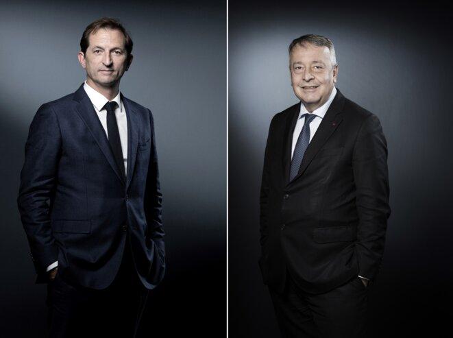 Bertrand Camus, directeur général de Suez et Antoine Frérot, pdg de Veolia © Joël SAGET / AFP