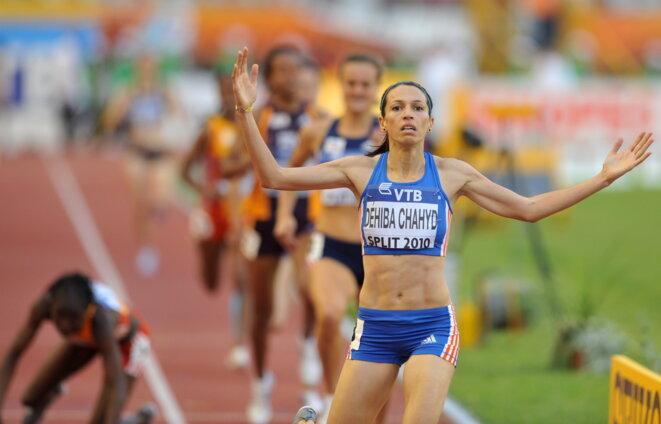Hind Dehiba, lors de la Coupe continentale d'athlétisme, à Split, le 5 septembre 2010. © AFP