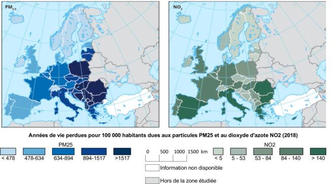 Années de vie perdues pour 100 000 habitants dues aux particules PM25 et au dioxyde d'azote NO2 (2018) © Agence Européenne de l'Environnement