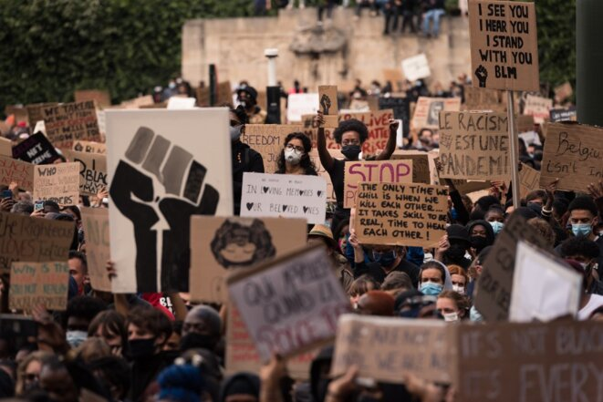 Manifestation Black Lives Matter à Bruxelles, le 7 juin 2020. © Jonathan Raa / NurPhoto
