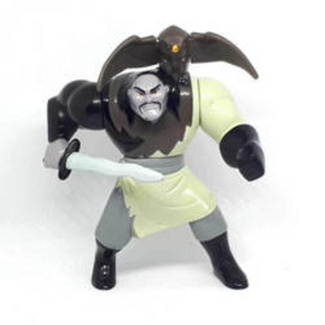 Figurine McDonalds Happy Meal Toy (1998) du personnage de Shan Yu de l'animation Mulan de Disney. Un bouton au dos fait battre les ailes de l'aigle. Cette caricature commerciale des peuples des steppes d'Asie intérieure est aussi raciste que Tante Jemima ou Oncle Ben.