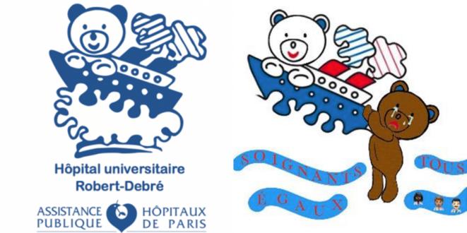 Le logo de l'hôpital Robert-Debré et son détournement par le collectif Soignants égaux © DR