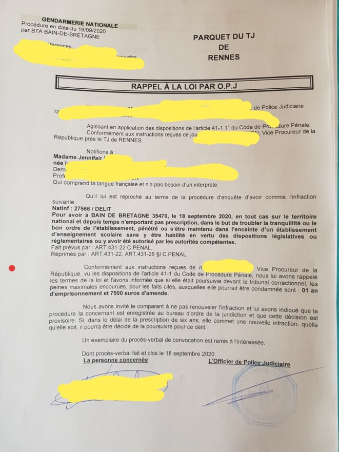 Rappel à la loi © Tribunal judiciaire de Rennes