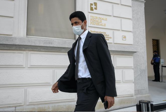 El presidente del PSG Nasser Al-Khelaïfi a su llegada el lunes al Tribunal Supremo Federal suizo en Bellinzona. © Fabrice Coffrini/AFP