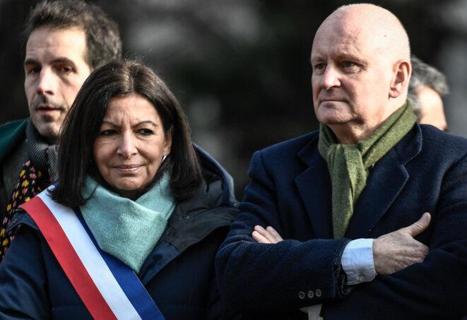 Anne Hidalgo et Christophe Girard, le 23 janvier 2020, à Paris. © STEPHANE DE SAKUTIN / AFP