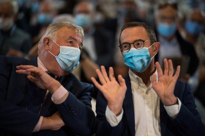 Gérard Larcher et Bruno Retailleau à La Baule, le 29 août. © Loic Venance / AFP