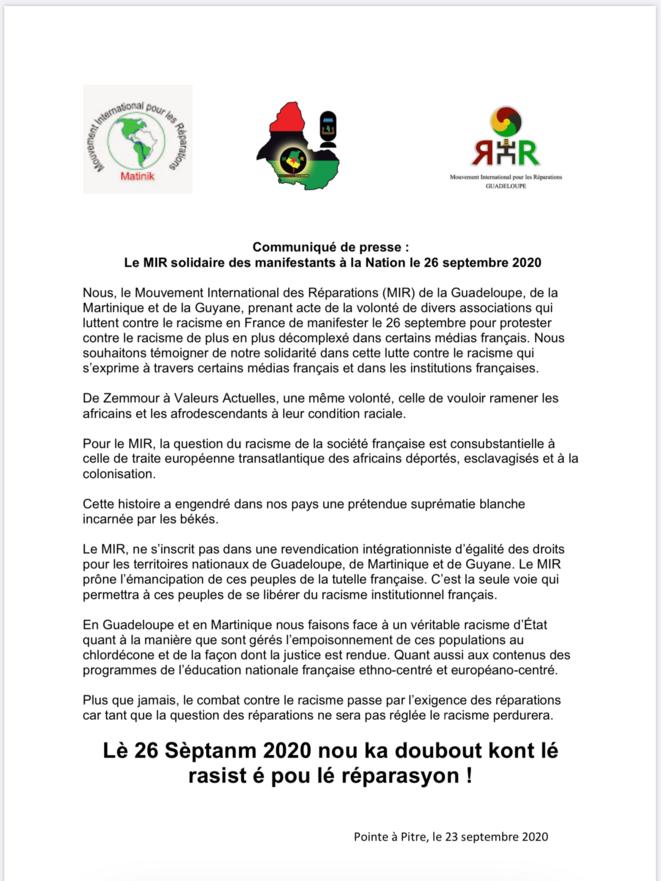 Communiqué de presse du Mouvement International pour les Réparations (MIR) Martinique-Guyane-Guadeloupe.