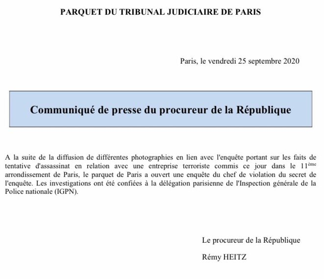 Saisine de l'IGPN par le Parquet de Paris pour l'attentat du 25 septembre 2020 © Procureur de la République de Paris