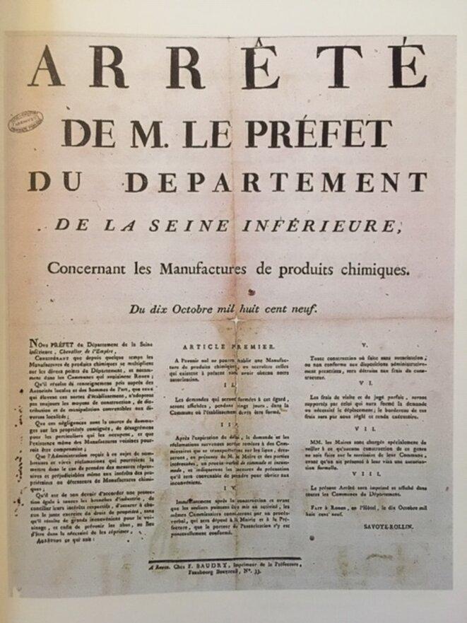 Arrêté du préfet Savoye-Rollin du 10 octobre 1809 (affiche). © Archives départementales de Seine-Maritime