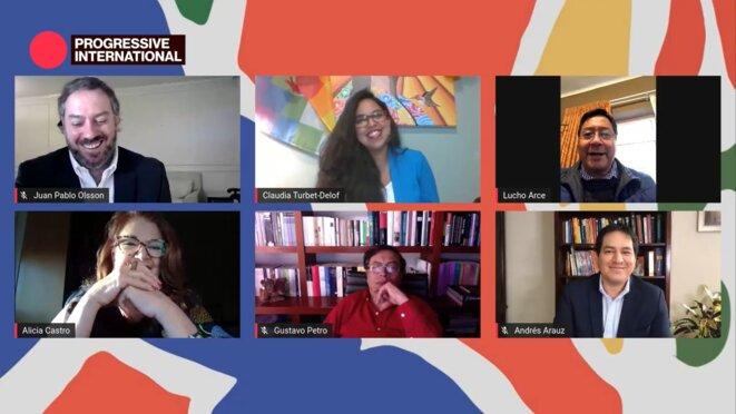 Juan Pablo Olsson,Claudia Turbet-Delof,Luis Arce,Alicia Castro, Gustavo Petro et Andrés Arauz © Internationale Progressiste