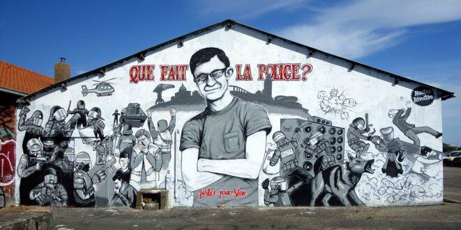 La fresque en hommage à Steve Maia Caniço sur le quai Wilson à Nantes - Août 2019 © Nantes révoltée