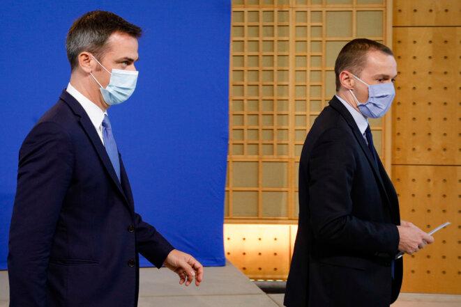 Olivier Véran et Olivier Dussopt. © AFP