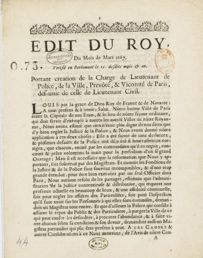 L'édit de 1667 portant création de la charge de lieutenant de police.
