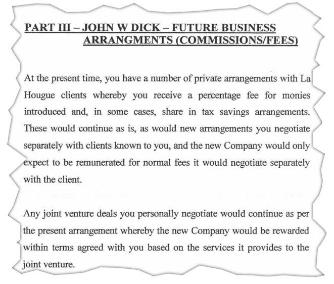 Selon un mémo rédigé en 2006 par son bras droit, John W. Dick touchait des commissions sur les économies d'impôts réalisées par certains clients de La Hougue. © EIC