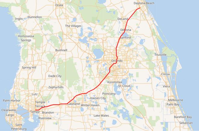 L'Interstate 4 (ou I-4) traverse le centre de la Floride, la reine des « Swing States ». © Wikimedia maps