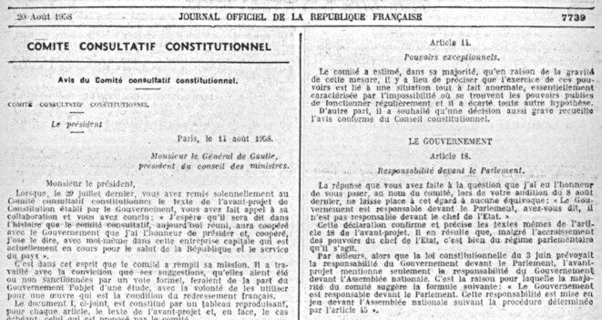 Avis du Conseil constitutionnel du 14 août 1958 (JORF du 20/08/1958). Copie d'écran. © Legifrance.gouv.fr, domaine public