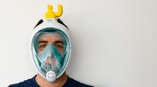 masque de plongée transformé en masque deventilation