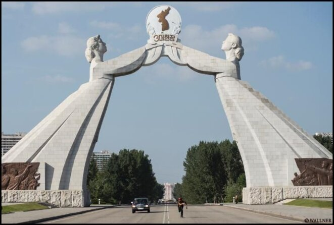 Monument pour la réunification à Pyongyang.