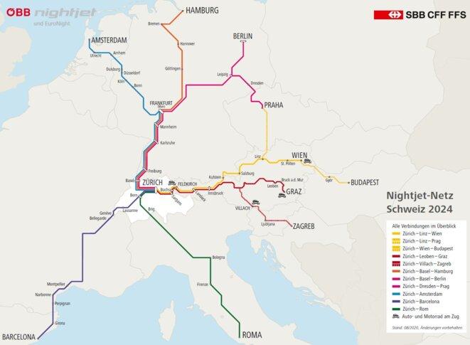 carte des trains de nuit au départ de Zurich prévu pour 2024. La destination Barcelone reste à construire. © CFF ÖBB