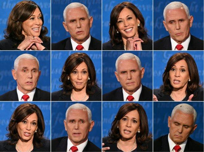 Différentes expressions des deux débatteurs mercredi soir. © Robyn Beck-Eric Baradat/AFP