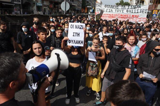 Un rassemblement mercredi à Thessalonique dans l'attente du verdict à Athènes. © Nicolas Economou/NurPhoto/AFP
