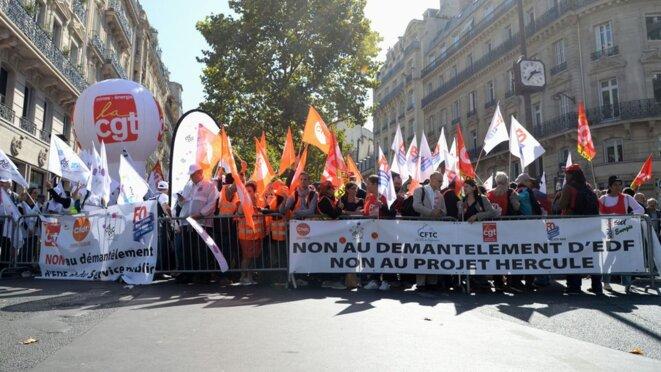 Manifestation à propos du projet Hercule © Les Echos