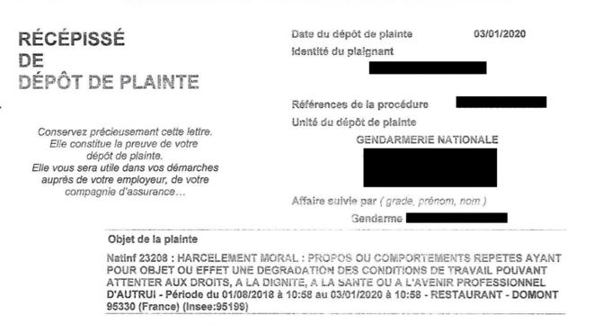 En janvier 2020, Jeanne porte plainte pour harcèlement moral contre son collègue F. DR