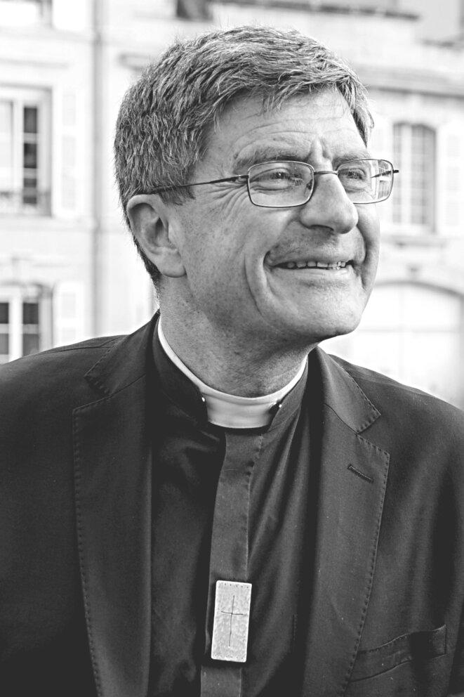 Éric de Moulins-Beaufort, archevêque de Reims et président de la Conférence des évêques de France, en 2018. © Transposition d'après Gérald Garitan/Wikimedia Commons, lic. CC-BY-SA int. 4.0.