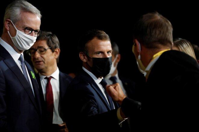Bruno Le Maire et Emmanuel Macron, octobre 2020. © AFP