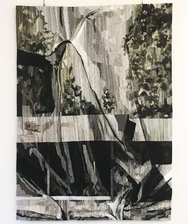 Eva Nielsen, Lucite, tissage : Atelier Patrick Guillot, Aubusson, 2018, tapisserie de basse lisse, chaine coton, trament laine et soie, 7,5 fils au cm, 3 x 2,20 m © Photo : Nicolas Roger