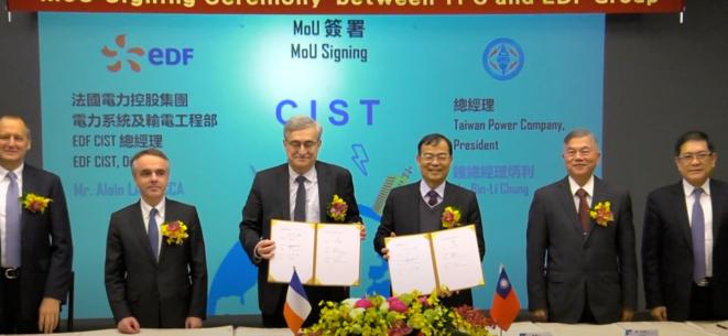 Signature en janvier 2019 d'un protocole d'accord entre EDF et Taipower à Taipei. © Capture d'écran/YouTube