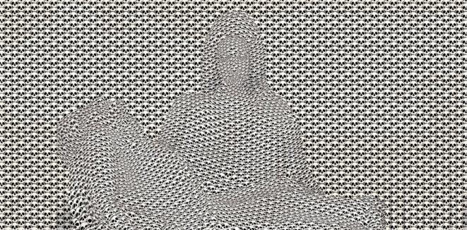 Thomas Bayrle, Pietà for World War I (détail), 2017, commande publique artistique en mémoire du centenaire de la Première Guerre mondiale, tapisserie monumentale en partenariat avec le Comité du Monument National du Hartmannswillerkopf (68) © Cité internationale de la tapisserie