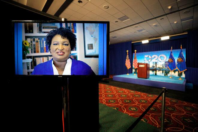 Stacey Abrams lors de la Convention démocrate, le 18 août 2020. © Brian Snyder / POOL / AFP