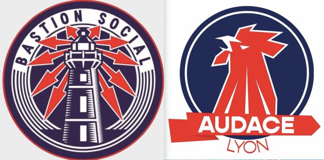 """À gauche, le logo du Bastion social ; à droite celui du groupe relancé à Lyon, """"Audace""""."""