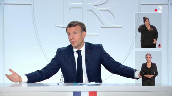 Entrevista televisiva de Emmanuel Macron, el 14 de octubre de 2020. © Captura de pantalla de France 2