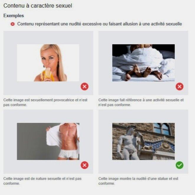 Exemples de contenu à caractère sexuel donné par Facebook