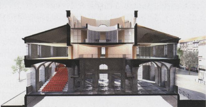 L'espace culturel, vue de coupe avant celle de son budget © Fabre et Speller architectes