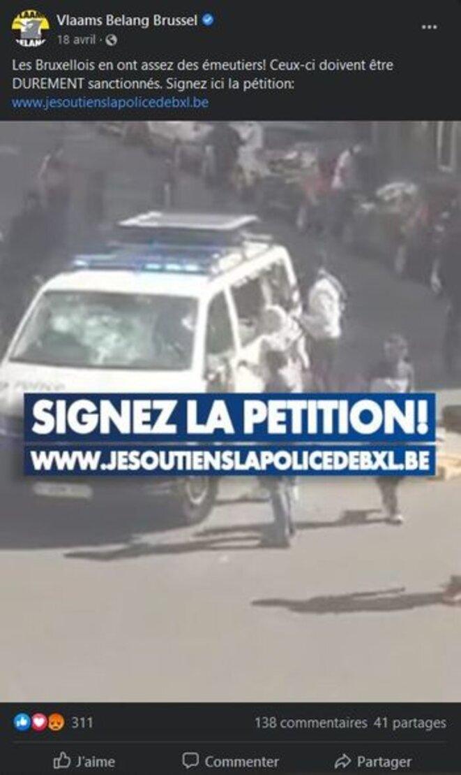 Publication du Vlaams Belang (parti d'extrême-droite nationaliste flamand) sur les évènements de Bruxelles.