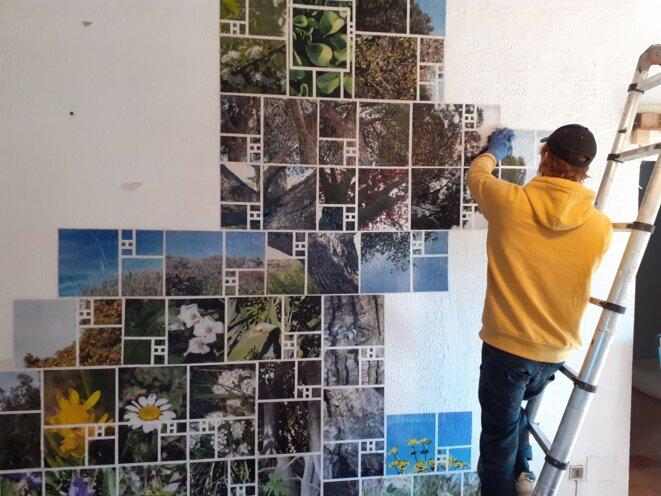 L'artiste urbain CSSJPG est venu décorer d'une fresque la Maison de l'Écologie et des Résistances