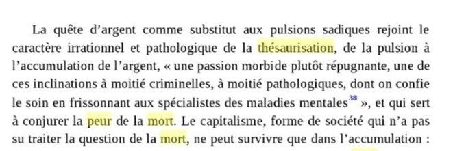 """Extrait tiré de """"Capitalisme et pulsion de mort"""",  De Bernard Maris, Gilles Dostaler"""