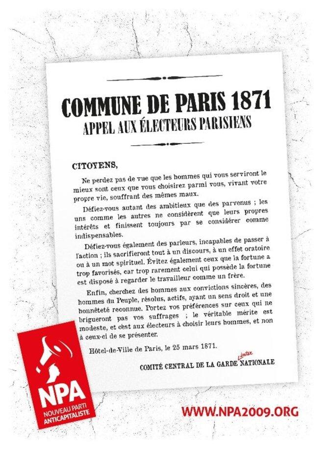 Affiche du NPA reprenant le message des Communards de 1871