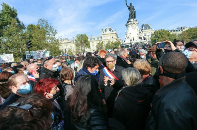 Jean-Luc Mélenchon, au rassemblement en hommage à Samuel Paty, place de la République, le 18 octobre. © Michel Stoupak / NurPhoto / NurPhoto via AFP