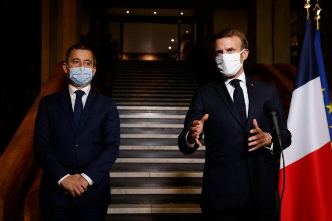 Gérald Darmanin et Emmanuel Macron, le 20 octobre. © AFP