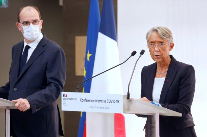 Le premier ministre Jean Castex et la ministre du travail Élisabeth Borne, le 15 octobre 2020. © Ludovic Marin / POOL / AFP