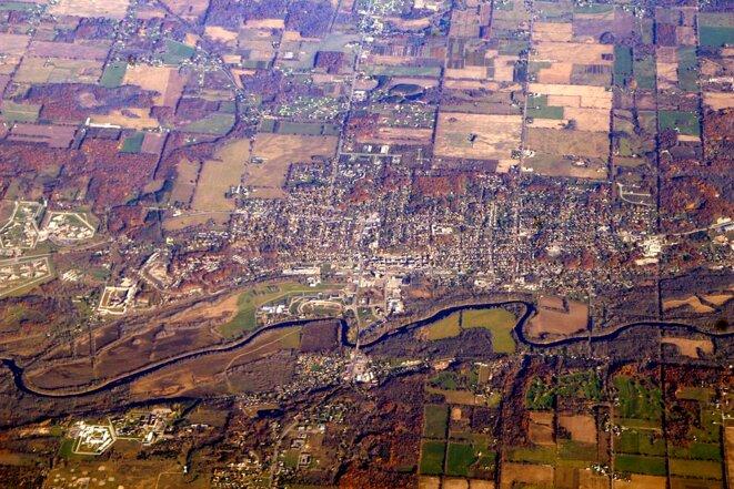 Vue aérienne d'Ionia dans le Michigan. © DR