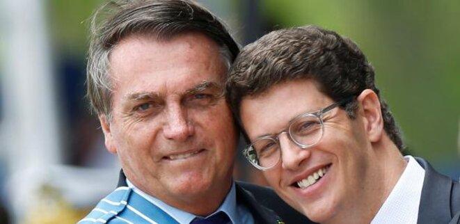 Bolsonaro et Ricardo Salles, le 23/10/20, à Brasilia. © Adriano Machado / Reuters