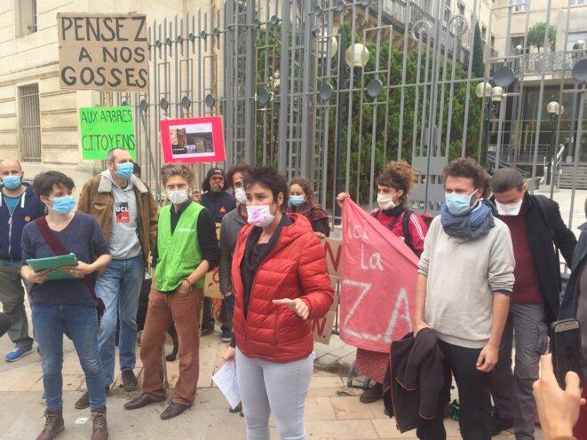 Les opposant·es au projet du LIEN devant la Préfecture de l'Hérault